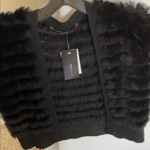 Gorgeous BCBG rabbit fur shrug NWT